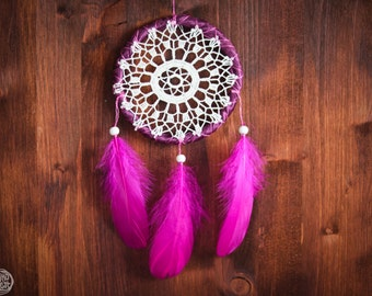 Dream Catcher - Flower of Nature - Unique Dream Catcher with Handmade Transitional Crochet Web and Pink Feathers