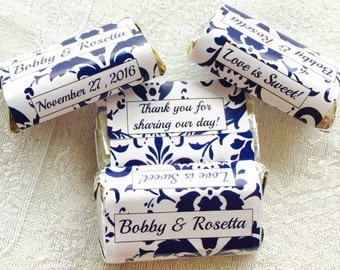 180 Navy Blue DAMASK Pattern Wedding Candy wrappers/stickers/labels for your HERSHEY MINIATURES (Personalized Favors) for any Party or Event