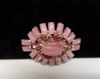 JULIANA Vintage Pink Crystal & Glass Cabochon Brooch