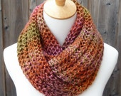 Reserved for ALEXIA - Multicolor Infinity Scarf - Autumn Leaves Infinity Scarf - Orange, Pink, Brown and Green Scarf - Ready to Ship