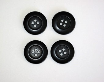 4 Large Black 4 Hole Buttons 23mm