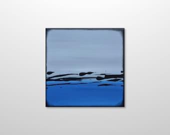 Small Abstract Landscape Minimalist Acrylic Canvas Wall Art - Modern Contemporary Blue Grey Ocean Seascape Painting by Gillian Sarah Art