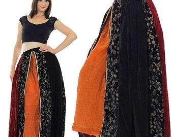 SALE velvet patchwork skirt Boho Maxi Peasant color block Vintage 1970s Bohemian Festival gold metallic floral Medium