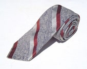 Vintage 1960s Skinny Gray Tie with Red Block Stripes