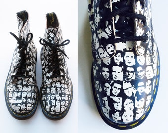 Andy Warhol Doc Martens Rare Pattern Doc Martens Womens Doc Martens Size 6 Dr Martens 6 UK 4 Combat Boots Punk Boots Goth Boots Grunge Boots