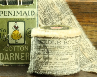 Needle Book - Vintage Inspired Hand-Stamped Tea Dyed and Frayed Muslin Trim Around A Charming  Wooden Spool