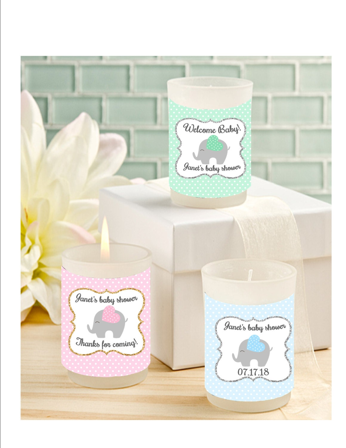 baby shower candle favors elephant votive candle favors