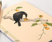 Crow Eating a Persimmon. Raven Notebook. Art Journal. Embroidered Notebook. Japanese Notebook. Japanese Art Journal. Ukiyo-e Art Notebook.