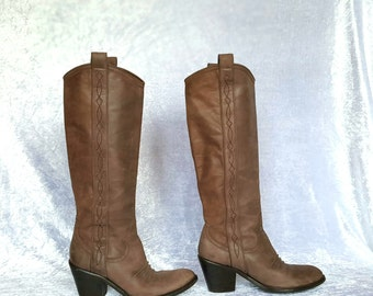 WOMEN'S COWGIRL BOOTS Western Boots Cowgirl Boots Vintage Leather Boots Brown Calf Leather Cowgirl Boots EU39 US8.5 UK6
