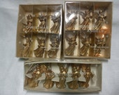 Vintage Miniature Angel, Vintage Plastic Angel Ornaments, Gold Plastic Angels