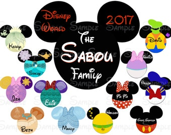 Fab Five Disney Custom DIY Printable Image for Iron On Transfer or Door Magnet Disney Family Vacation