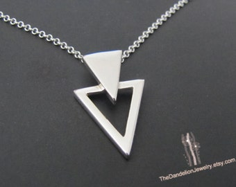 Triangle Necklace, Sterling Silver Necklace, Pendant Necklace, Jewelry, Gift