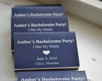 25 Custom Designed Matchbox Wedding Favors - Bachelorette Party