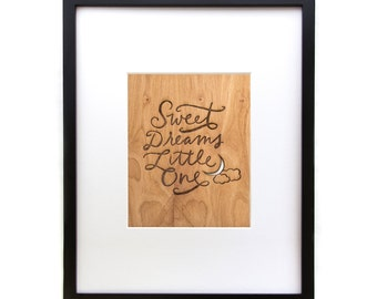 "Sweet Dreams Little One - Wood Art Print (8""x10"")"