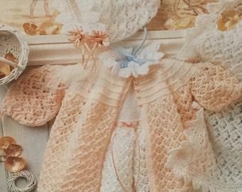 "UK/EU SELLER Vintage pdf knitting pattern layette, shawl, dress, matinee coat, bonnet, bootees. Peter Pan 762. 4Ply. Fits 14-20"" (36-51cms)"