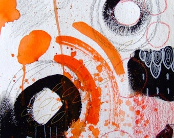 Abstract Art Abstract Painting Abstract Drawing Abstract Home Decor Abstract Wall Art - Abstract Decor Art Orange Black - Abstract Modern