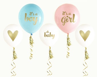 Girl and boy Gender Reveal Party, Gender Reveal Decorations, It's a Boy, It's a Girl, SET of 3 Balloons, Blue Decor, Pink Decor