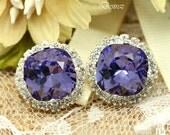 Purple Stud Earrings Tanzanite Earrings Swarovski Earrings Wedding Earrings Bridesmaid Gift Rhinestone Stud Earrings Square Earrings TZ50S