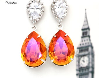 Orange & Pink Earrings Astral Pink Swarovski Crystal Earrings Bridesmaid Gift Coral Orange Fuchsia Magenta Sparkly Sterling Silver AP31P