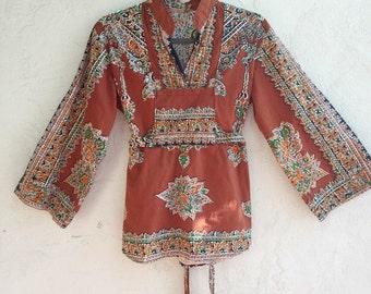 vintage printed thai cotton blouse | small | the bangkok top