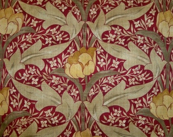 LEE JOFA KRAVET Wm Morris Inspired Art Nouveau Linen Fabric 10 Yards Burgundy Goldenrod