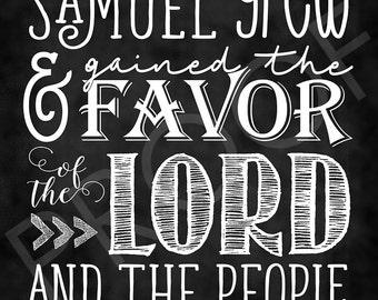 Scripture Art - I Samuel 2:26 ~ Chalkboard Style