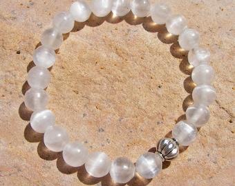 SELENITE BRACELET, Crystalline Gypsum, Unusual, Chatoyant,8mm Round Beads