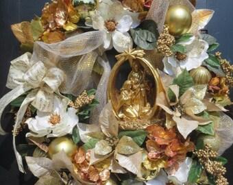 Nativity Wreath, Luxury Christmas Wreath, Christmas Door Wreath, Magnolia Wreath, Poinsettias Wreath, Holiday Wreath, Gold Victorian Wreath