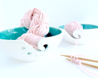 Porcelain Yarn Bowl Turquoise and White Beach Beautiful Stunning MADE TO ORDER