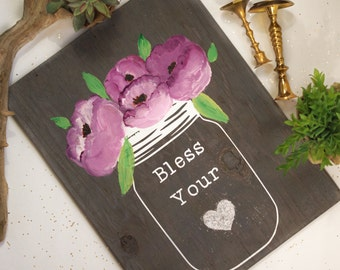 Wood Sign, Bless your Heart,Rustic Home Decor, Handpainted Wood Art, Rustic Wall Art, Rustic Hand painted Sign, Handmade sign, Floral Sign