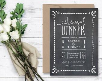 Wedding Rehearsal Dinner Invitation \ Wedding Printable Invitation \ Chalkboard Invitation \ Rustic Invitation (RD67)