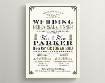 Printable Rehearsal Dinner Invitation \ Vintage Poster Design with Black and Gold (RD64)