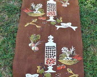 Another Martex dry-me-dry 3 fibre tea towel - kitchen motifs - deep chocolate brown