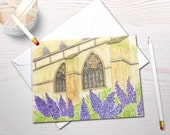 Watercolor stationery, Cathedral painting, stained glass watercolor, personal stationery, religious stationery, lilac garden, church cards