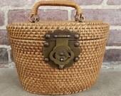 1950s woven bucket handbag