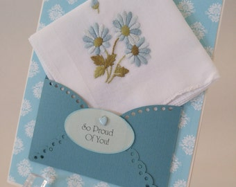 Vintage Embroidered Handkerchief Blue Daisies Friend Keepsake Spring So Proud Of You Jod Well Done Congratulations Greeting Hanky Card