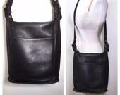 Large Black Leather Coach Bag Vintage Coach Crossbody Bag Leather Satchel Large Leather Handbag School Bag Computer Bag Black Coach Bag