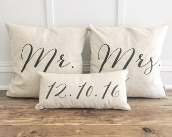 NEW FONT! Mr & Mrs pillow cover set with custom date lumbar pillow cover