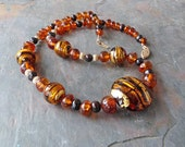 Baltic Amber Necklace w Topaz, Black, & Gold Venetian Glass and Black Pearls, Handmade