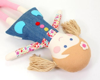 Eco-Friendly Soft Fabric Cloth Doll for Girl -- Camille Doll with Camel Felt Hair & Jeans Dress with Tiny Floral Shirt and Felt Buttons