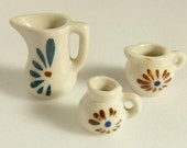 Three  Miniature Ceramic Pitchers - Hand-Painted - Child's - Doll House