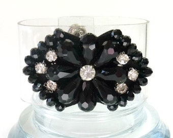 Rhinestone and Black Bead Cuff - Cocktail Bracelet Cuff  - Rhinestones and Faceted Black Jet Beads -