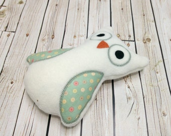 Stuffed Owl - Owl Plush Toy - Owl Stuffed Animal - Stuffies White and Green