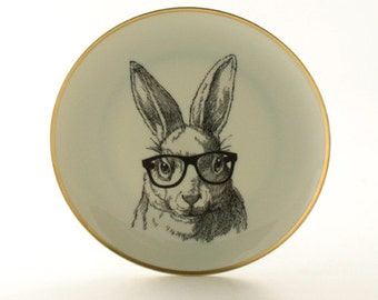 Altered  Plate Nerd  Rabbit Bunny Glasses Easter Graduation Funny Vintage  Decorative House Decor Vintage White Houseware