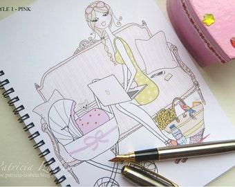 Designer MUMPRENEUR Notebook, new mum, chic feminine notebook, fashion notebook, fashion print, sketchbook, mom gift, baby gift