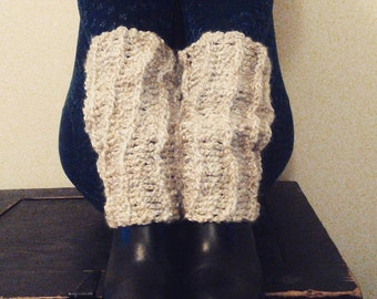 crochet leg warmers - boot cuffs - natural cream - acrylic - washable - ballerina - gift for her - trending fashion