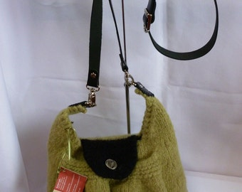 Hand Knit and Felted Green Purse with adjustable Leather Shoulder Strap
