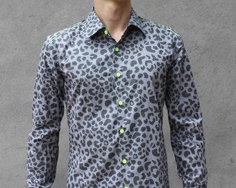 Grey Leopard print shirt - BAÏSAP
