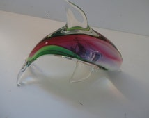 Vintage Murano Art Style Dolphin Mid Century Multi Colored Glass Dolphin Dolphin Paperweight Dolphin Lover Sea Creatures