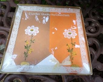 Vintage Boxed Made in Switzerland- Ladies Handkerchiefs-Cocoa Brown & Orange with White Flower-100% Cotton